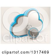 Clipart Of A 3d Cloud Storage Icon With A Round Padlock On Shaded White 2 Royalty Free Illustration