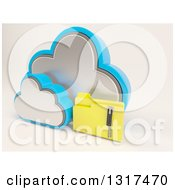 Clipart Of A 3d Cloud Icon With A Zipped Folder On Off White Royalty Free Illustration