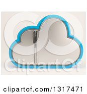 Clipart Of A 3d Silver And Blue Zipped Secured Cloud Drive Icon On Off White Royalty Free Illustration