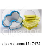 Clipart Of A 3d Cloud Icon With A Stack Of Folders On Off White Royalty Free Illustration