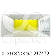 Clipart Of A 3d Empty Room Interior With Floor To Ceiling Windows Ceiling Lights And A Yellow Feature Wall 2 Royalty Free Illustration