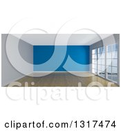 Clipart Of A 3d Empty Room Interior With Floor To Ceiling Windows Wooden Flooring And A Blue Feature Wall Royalty Free Illustration