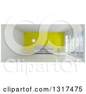 Clipart Of A 3d White Room Interior With Floor To Ceiling Windows A Yellow Feature Wall And Furniture Royalty Free Illustration