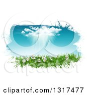 Clipart Of A White Grunge Border Around A 3d Sunny Spring Day Background With Blue Sky A Rain Cloud Daisies And Grass Royalty Free Illustration