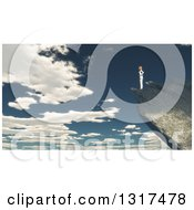 Clipart Of A 3d Lone Woman Standing On A Mountain Edge Against A Cloudy Sky Royalty Free Illustration