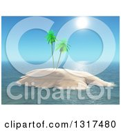 Clipart Of A 3d Tropical Island With Palm Trees And Sunshine Royalty Free Illustration