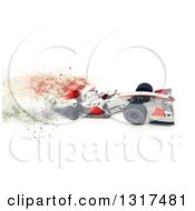 Clipart Of A 3d F1 White And Red Race Car With Speed Blur Effect Royalty Free Illustration