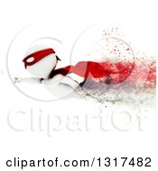 Clipart Of A 3d White Man Super Hero Flying Over White With Speed Effect Royalty Free Illustration