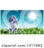 Clipart Of A 3d Robot Holding Up A Solar Panel In A Sunny Meadow With Flowers Royalty Free Illustration