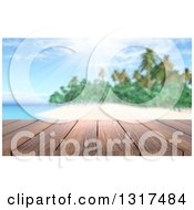 Clipart Of A 3d Wood Table Top Or Deck With A View Of A Tropical Beach And Palm Tree On A Beautiful Day 2 Royalty Free Illustration
