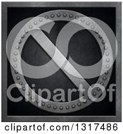 Clipart Of A 3d Riveted Metal Prohibited Symbol Over Black Royalty Free Illustration