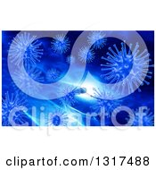 Clipart Of A 3d Background Of Blue Viruses And Blood Cells Royalty Free Illustration