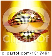 Clipart Of A 3d Gold Ribbon Banner Over A Disco Ball With Lights Royalty Free Vector Illustration