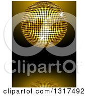 Clipart Of A 3d Gold Disco Ball And Reflection On Gradient Black Royalty Free Vector Illustration