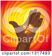 Clipart Of A Black Hand Holding Dice Over A Red And Yellow Swirl Royalty Free Vector Illustration