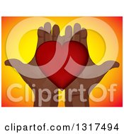 Clipart Of A Pair Of Open Black Hands Holding A Red Love Heart Over Gradient Yellow And Orange Royalty Free Vector Illustration