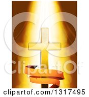 Clipart Of A Light Shining Down On A Gold Cross With An Aged Banner Over Flares Royalty Free Vector Illustration
