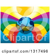 Clipart Of A Planet Earth Wearing Shades Under A Sun And Rainbows Royalty Free Vector Illustration