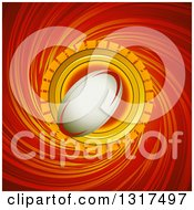 Clipart Of A Halftone Rugby Football Icon Over A Red And Yellow Swirl Royalty Free Vector Illustration