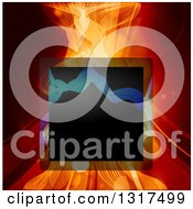 Clipart Of A Black Square Frame Over Mesh Waves And Swooshes In Red Tones With Flares Royalty Free Vector Illustration