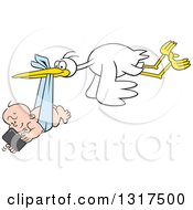 Clipart Of A Cartoon Digital Delivery Stork Flying A Baby Boy Using A Cell Phone Royalty Free Vector Illustration