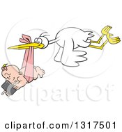 Cartoon Digital Delivery Stork Flying A Baby Girl Using A Cell Phone