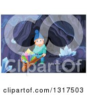 Clipart Of A Mining Gnome Pushing Colorful Crystals On A Wheelbarrow In A Mining Cave Royalty Free Vector Illustration