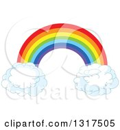 Clipart Of A Rainbow Arch With Puffy Cloud Ends Royalty Free Vector Illustration