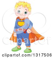 Clipart Of A Happy Blond Haired Blue Eyed Caucasian Chubby Super Hero Boy Wearing A Belt And Cape Royalty Free Vector Illustration