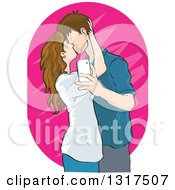 Caucasian Teenage Couple Kissing And Taking A Selfie Or Usie
