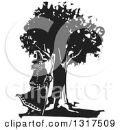 Clipart Of A Black And White Woodcut Wizard Standing By A Tree With A Staff In A Breeze Royalty Free Vector Illustration by xunantunich