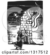 Clipart Of A Black And White Woodcut Wizard Standing With A Staff In Front Of A Burning Tower Royalty Free Vector Illustration by xunantunich #COLLC1317512-0119