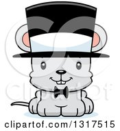 Animal Clipart Of A Cartoon Cute Happy Mouse Gentleman Wearing A Top Hat Royalty Free Vector Illustration