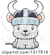 Animal Clipart Of A Cartoon Cute Happy Mouse Viking Royalty Free Vector Illustration