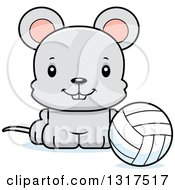 Animal Clipart Of A Cartoon Cute Happy Mouse Sitting By A Volleyball Royalty Free Vector Illustration