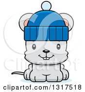 Animal Clipart Of A Cartoon Cute Happy Mouse Wearing A Winter Hat Royalty Free Vector Illustration