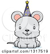 Animal Clipart Of A Cartoon Cute Happy Mouse Wizard Royalty Free Vector Illustration