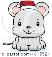 Animal Clipart Of A Cartoon Cute Happy Christmas Mouse Wearing A Santa Hat Royalty Free Vector Illustration