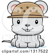 Animal Clipart Of A Cartoon Cute Happy Mouse Zookeeper Royalty Free Vector Illustration