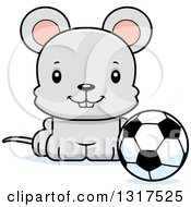 Animal Clipart Of A Cartoon Cute Happy Mouse Sitting By A Soccer Ball Royalty Free Vector Illustration