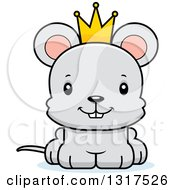 Animal Clipart Of A Cartoon Cute Happy Mouse Prince Royalty Free Vector Illustration