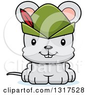 Animal Clipart Of A Cartoon Cute Happy Robin Hood Mouse Royalty Free Vector Illustration