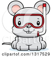 Animal Clipart Of A Cartoon Cute Happy Mouse Wearing Snorkel Gear Royalty Free Vector Illustration