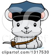 Animal Clipart Of A Cartoon Cute Happy Mouse Mailman Royalty Free Vector Illustration