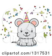 Animal Clipart Of A Cartoon Cute Happy Party Mouse Royalty Free Vector Illustration