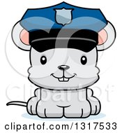 Animal Clipart Of A Cartoon Cute Happy Mouse Police Officer Royalty Free Vector Illustration