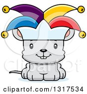 Animal Clipart Of A Cartoon Cute Happy Mouse Jester Royalty Free Vector Illustration