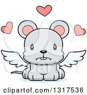 Animal Clipart Of A Cartoon Cute Mad Mouse Cupid Royalty Free Vector Illustration