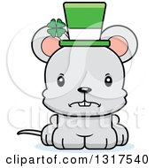 Animal Clipart Of A Cartoon Cute Mad St Patricks Day Irish Mouse Royalty Free Vector Illustration