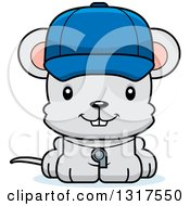 Animal Clipart Of A Cartoon Cute Happy Mouse Coach Royalty Free Vector Illustration